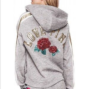 VS Pink Logo Lace Bling Sequins Hoodie